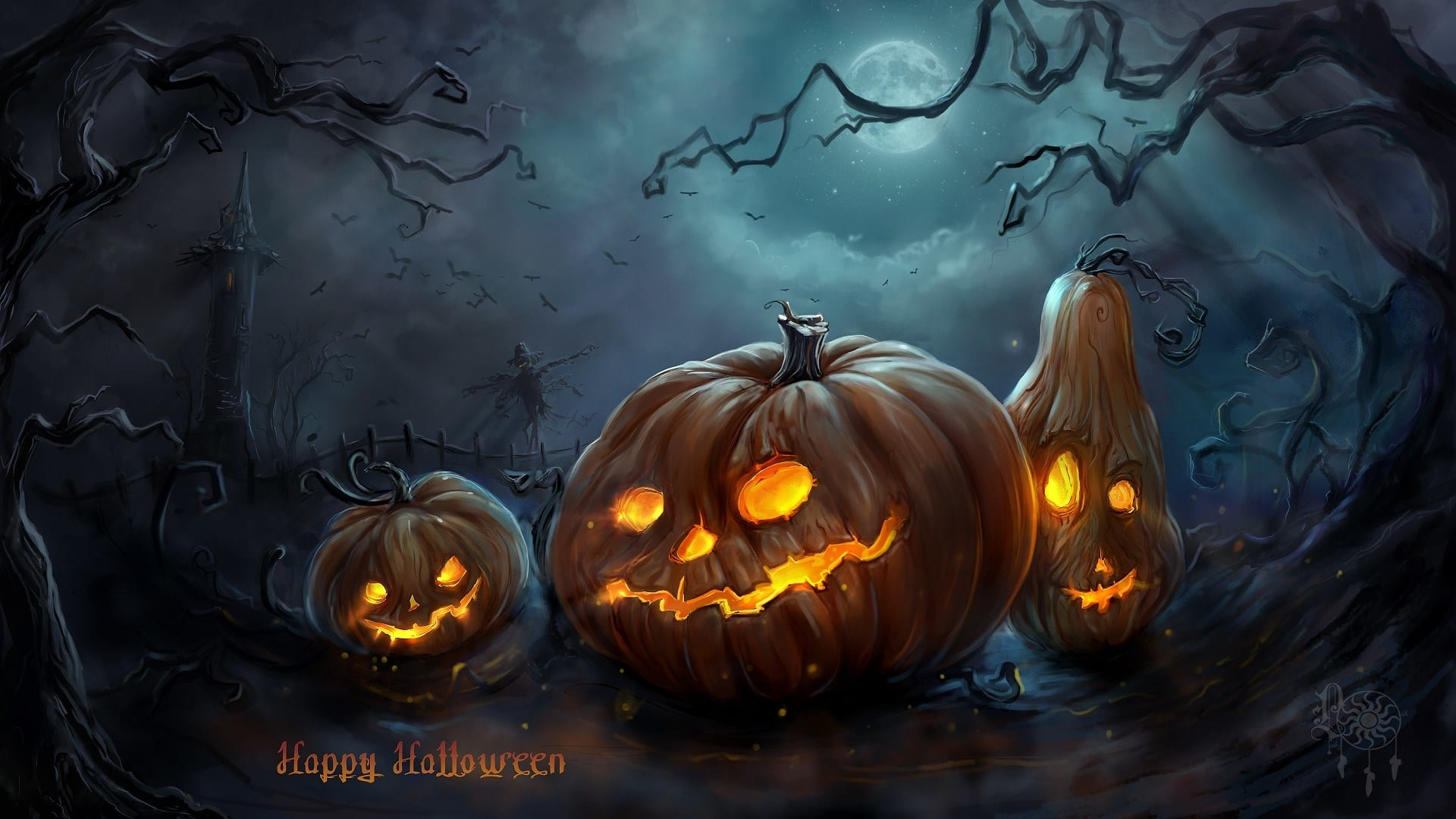 Cool Scary Pumpkin Halloween Backgrounds