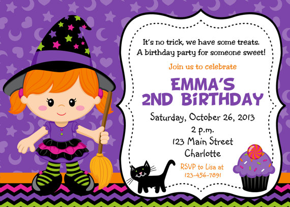 Happy Halloween Birthday Party Invitations