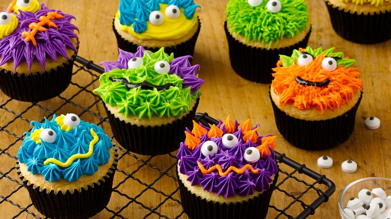Scary Monster Halloween Cupcakes