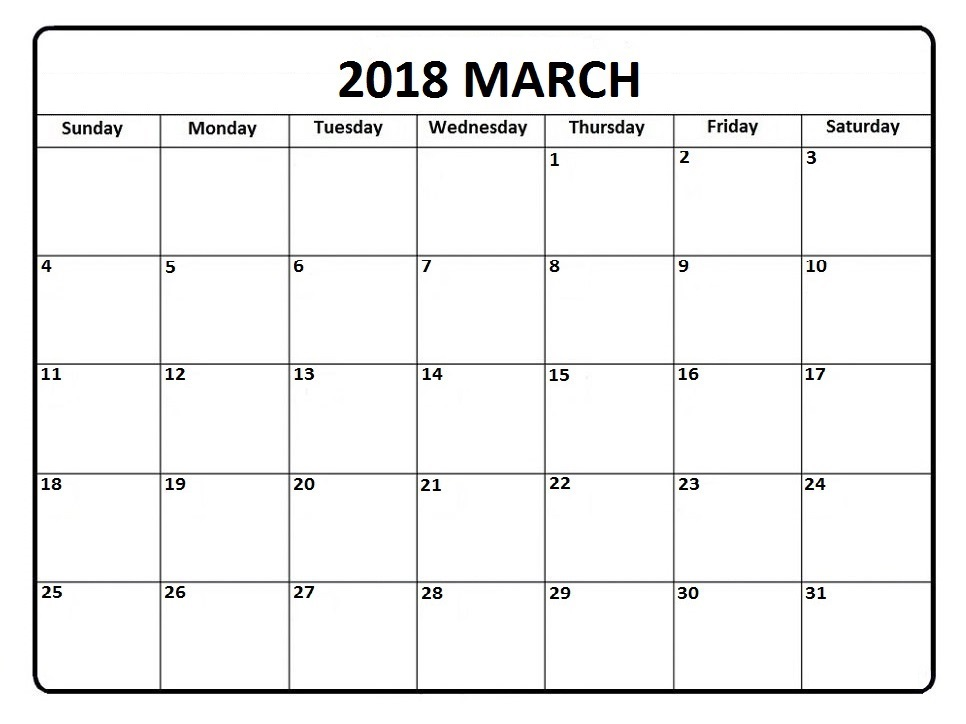March  Calendar In Pdf Word Excel Printable Template  Monthly