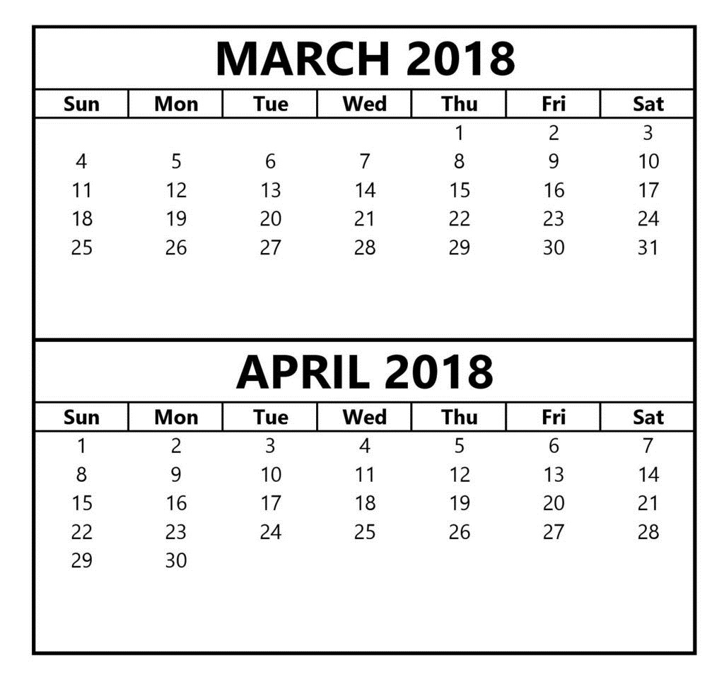 March April 2018 Calendar Printable Free Template
