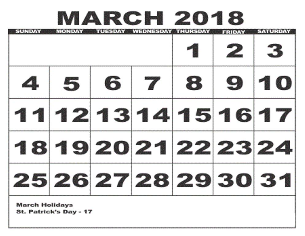 2018 March Calendar With Holidays
