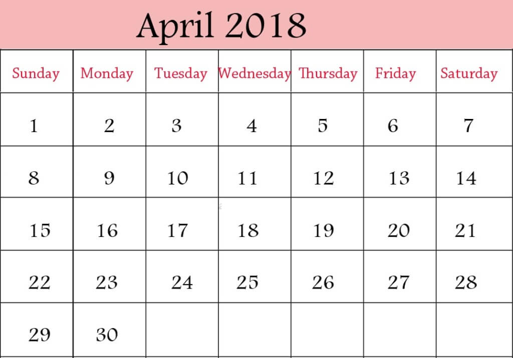 April 2018 Calendar Images