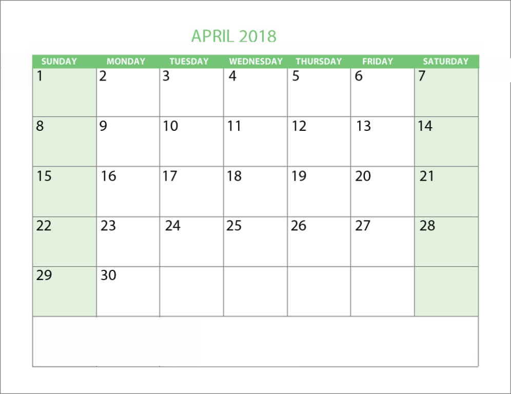 April 2018 Calendar Template Printable