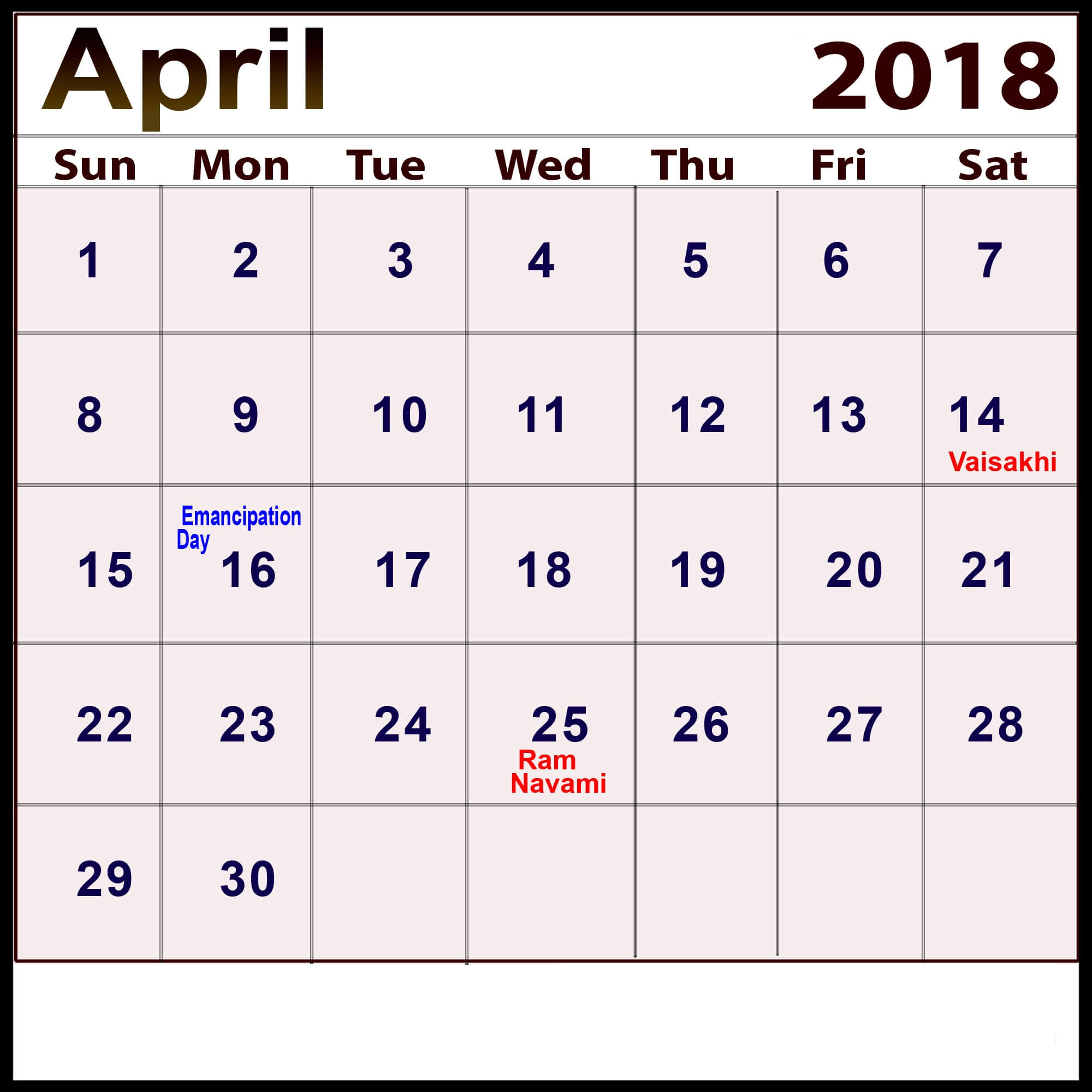 April Calendar Usa : April calendar with holidays in usa uk canada india