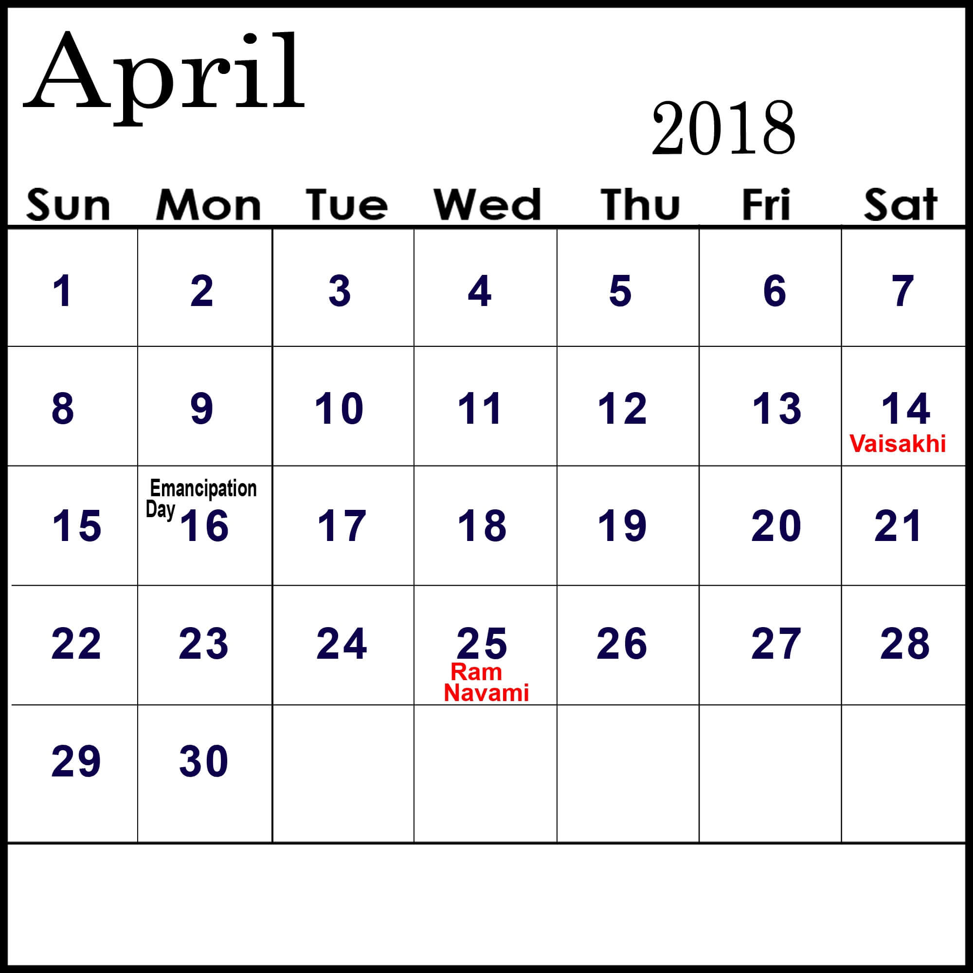 Calendar April With Holidays : April calendar with holidays in usa uk canada india