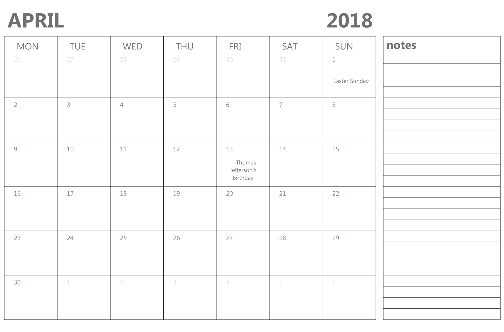 April 2018 Calendar With Notes