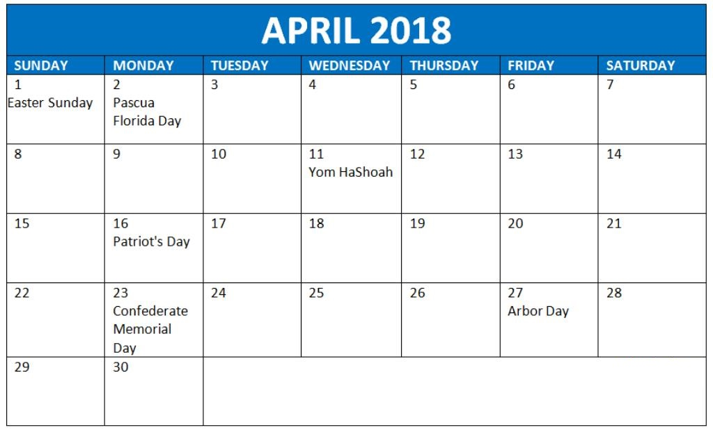 April 2018 Monthly Calendar With Holidays