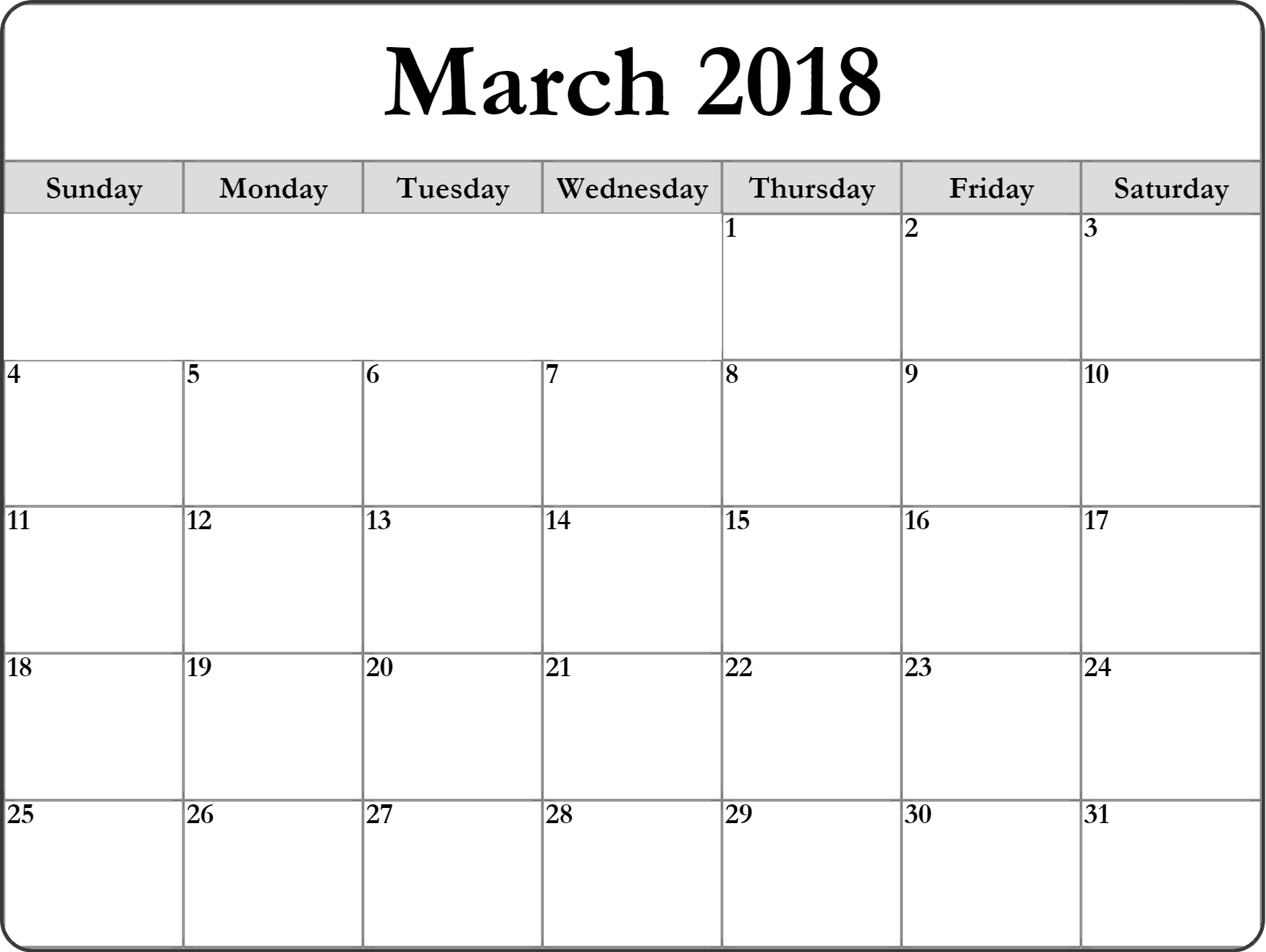Blank Calendar March 2018 Monthly