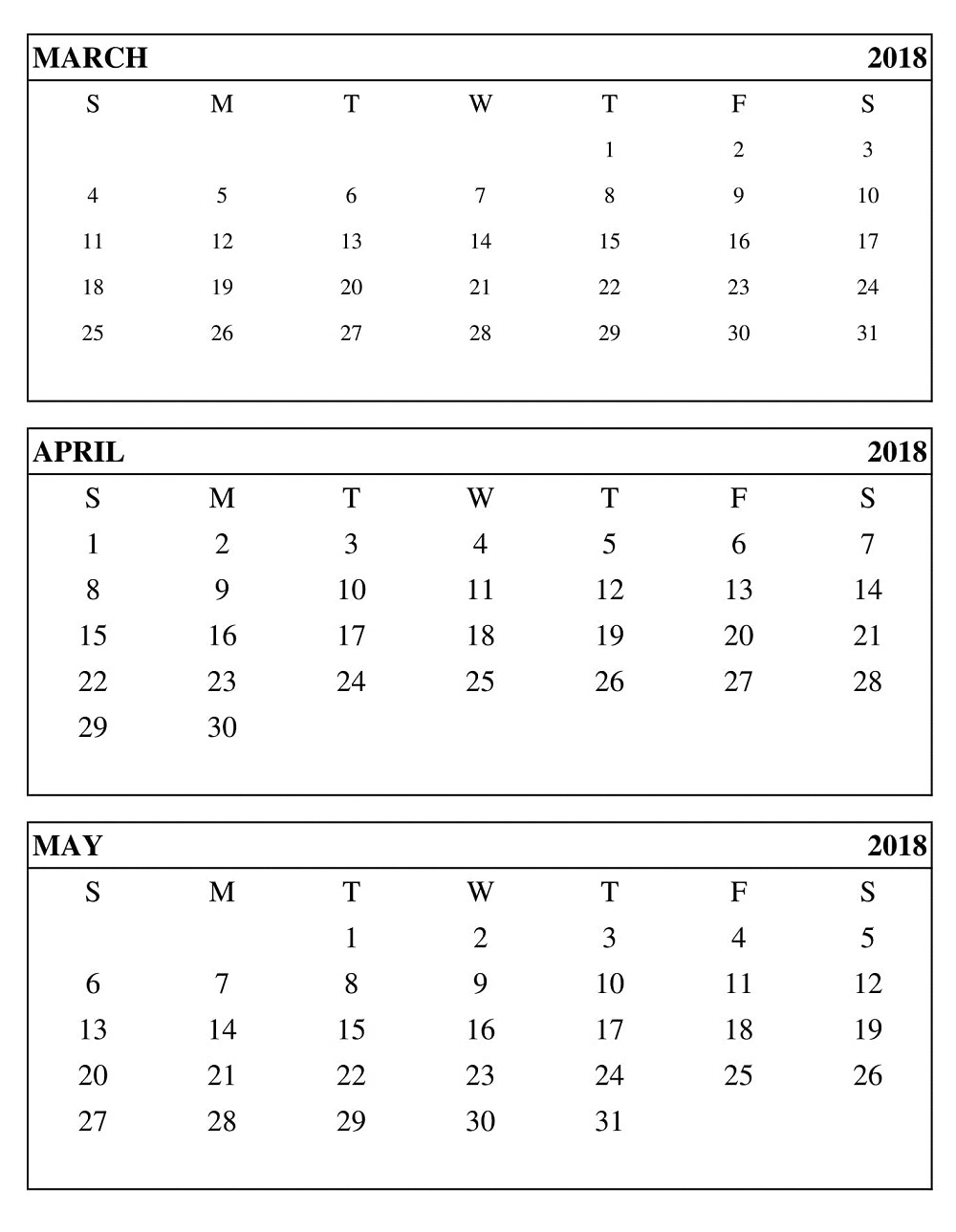 Calendar 2018 March April May