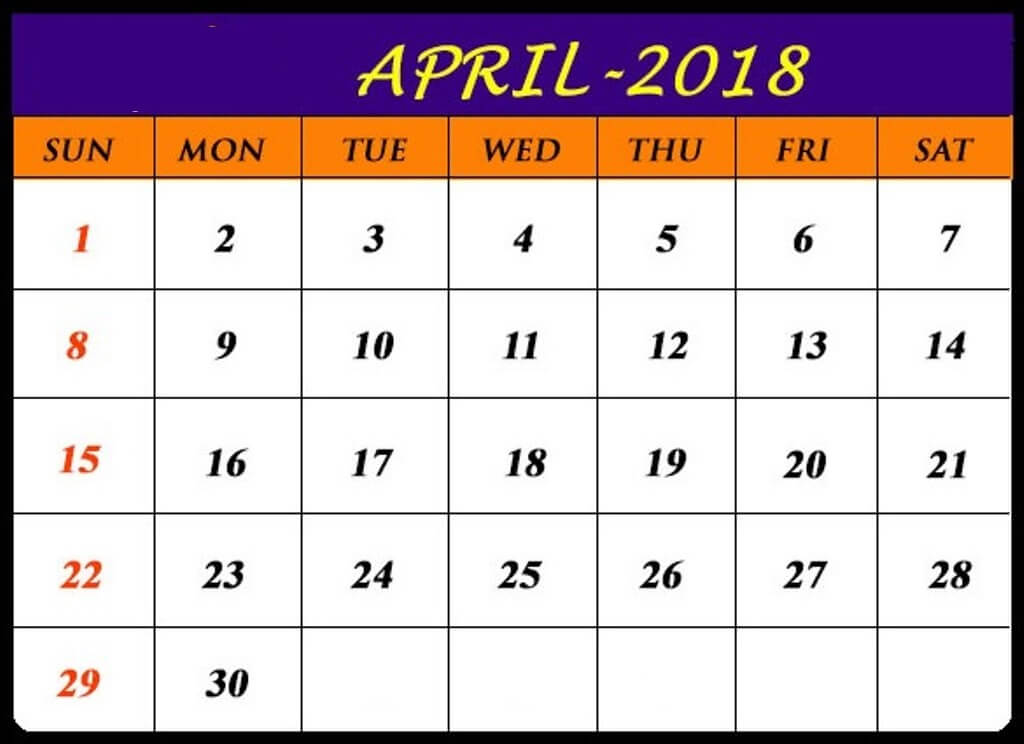 Calendar April 2018 Pritable Template