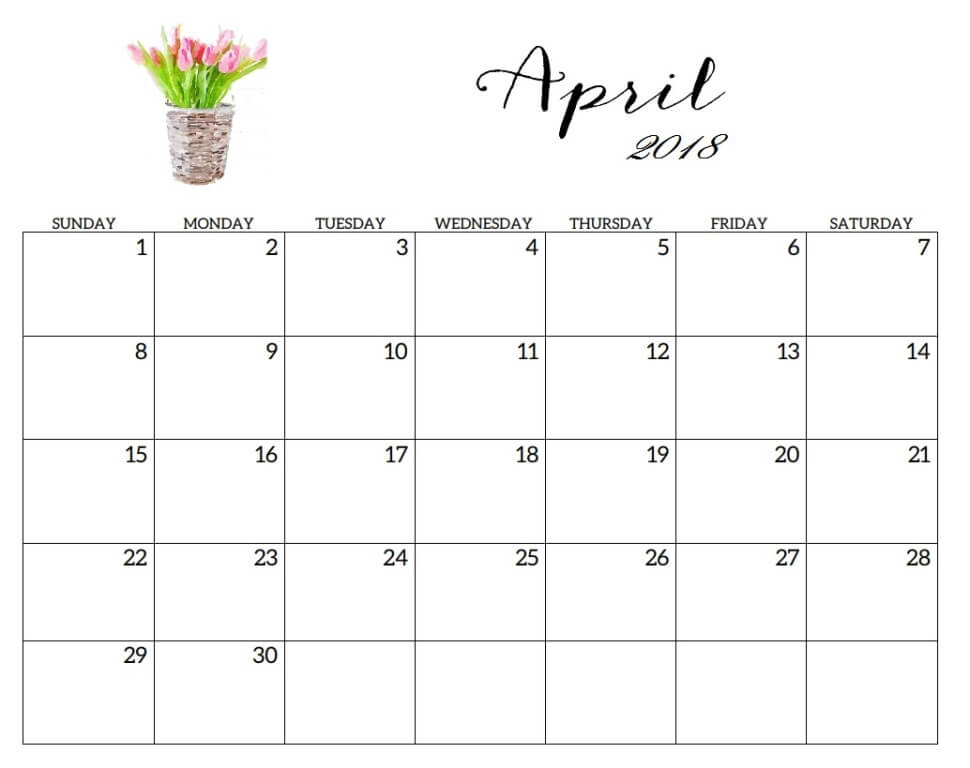 Calendar April 2018 Wallpaper