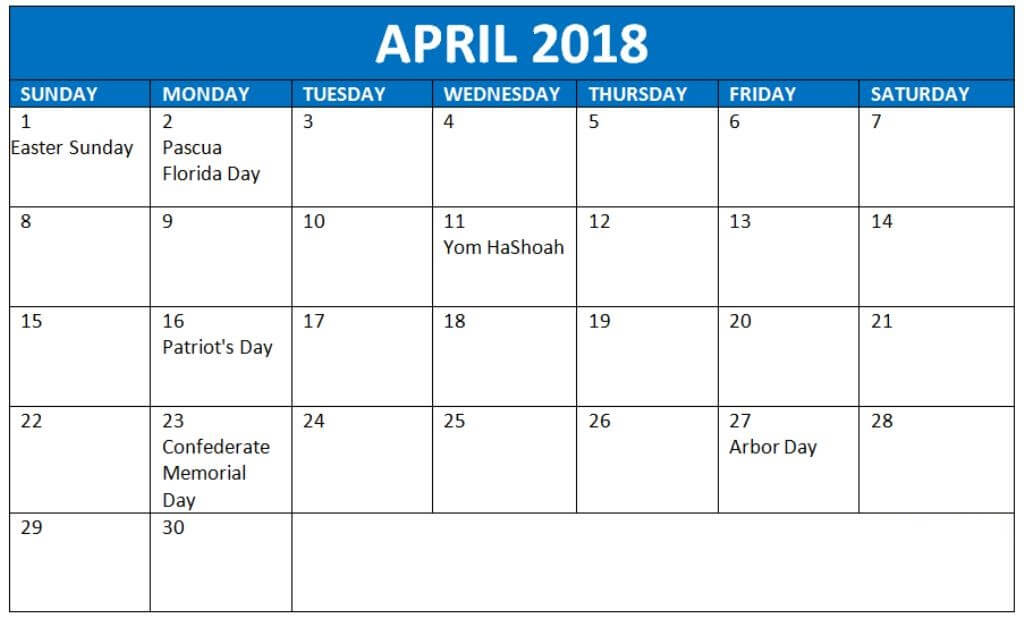 Calendar April 2018 With Holidays