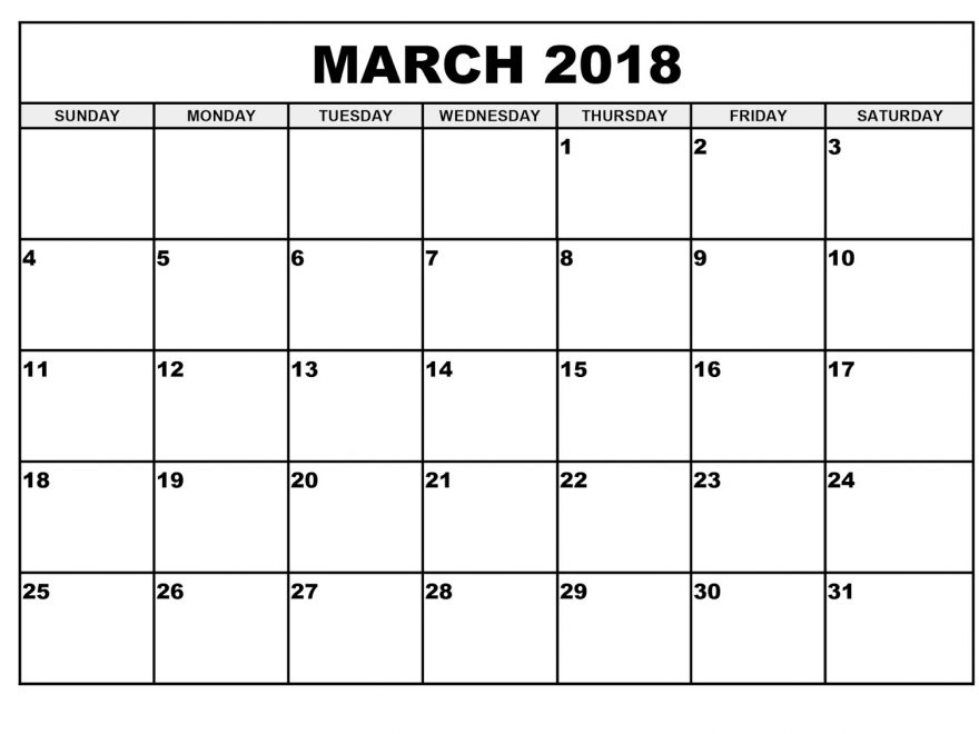 Calendar For March 2018