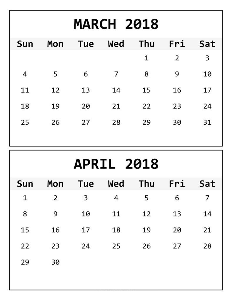 Calendar For March April 2018