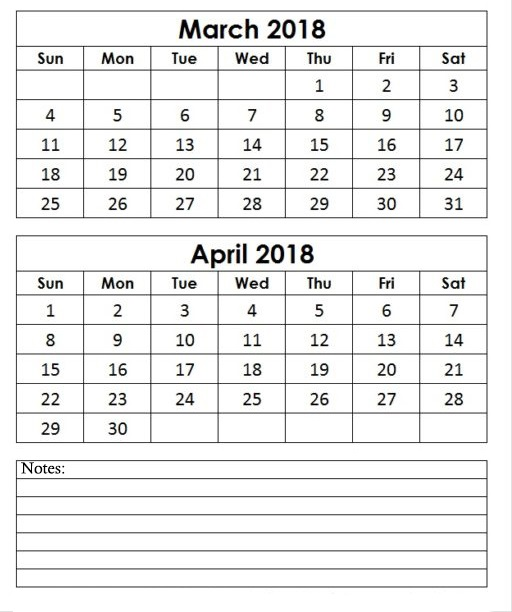 Calendar March April 2018 Printable