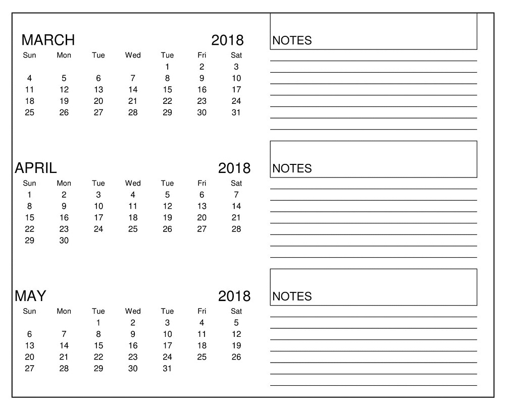 Calendar March April May 2018 With Notes