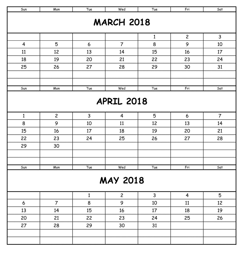 Calendar March April May 2018