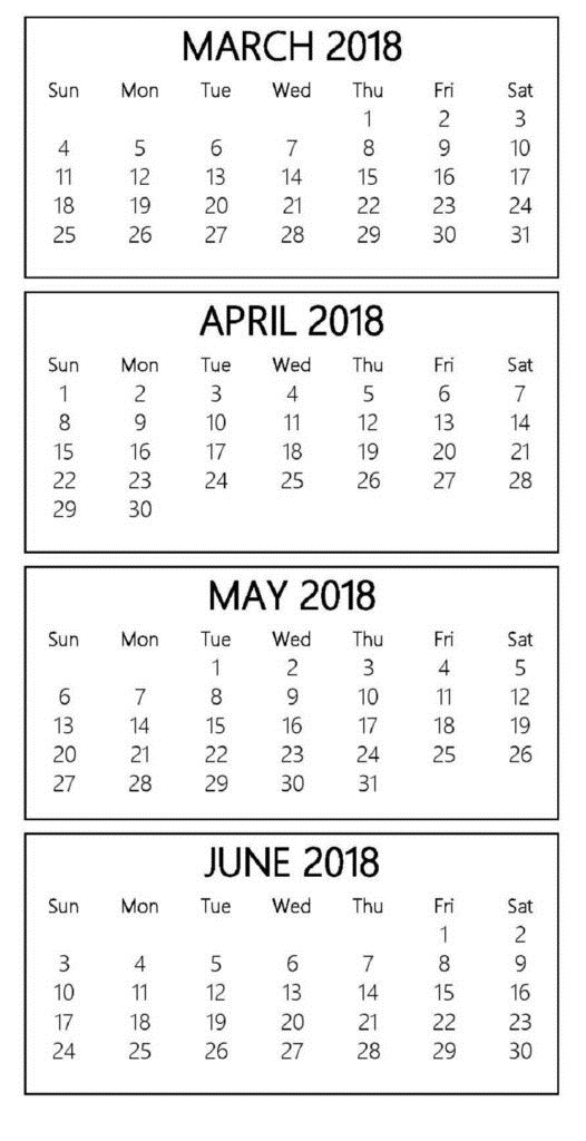 Calendar March April May June 2018