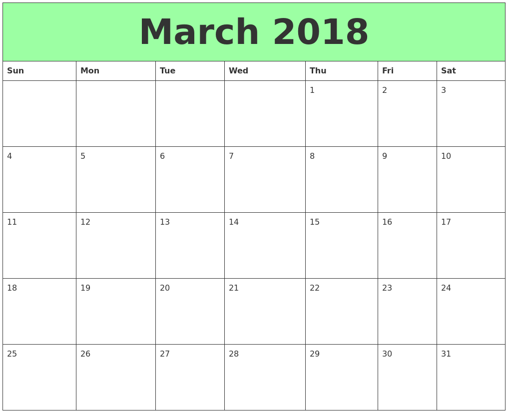 Cute March 2018 Printable Calendar