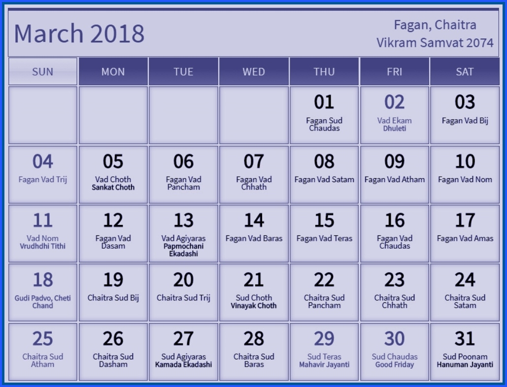 Hindu Calendar March 2018 Festivals and Holidays