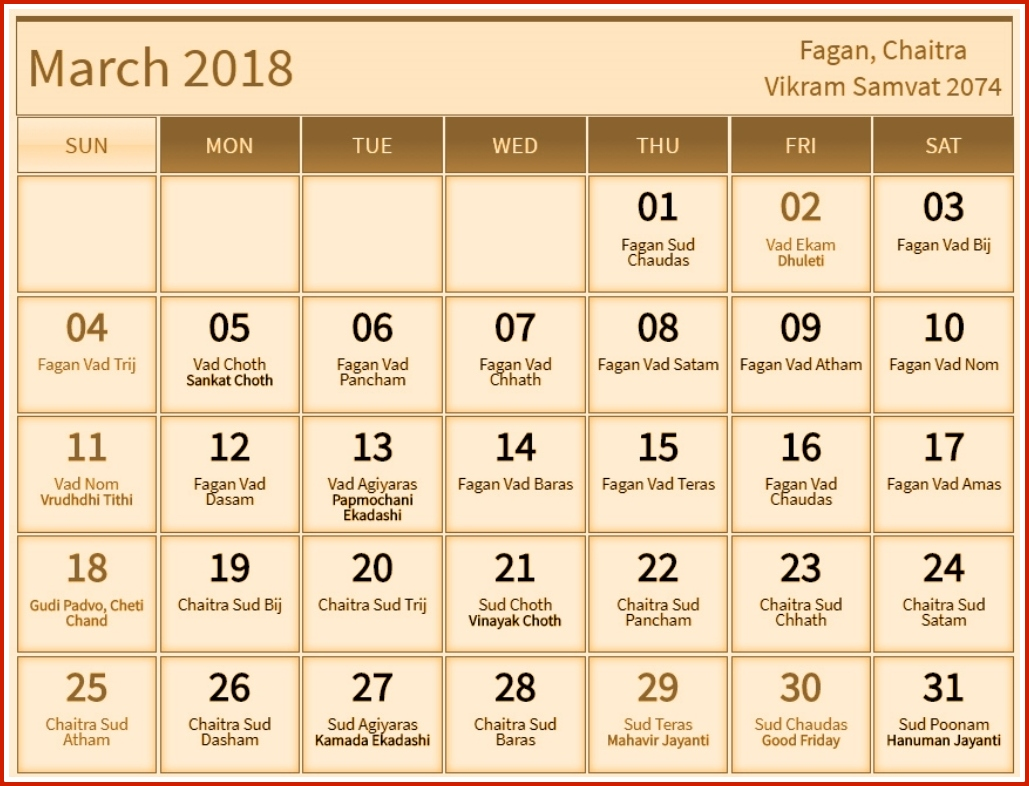 Hindu Calendar March 2018 Festivals