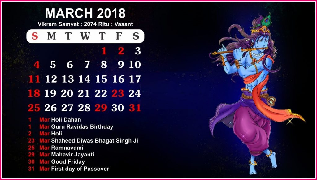 Hindu Calendar March 2018 Holidays, Festival, Tyohar