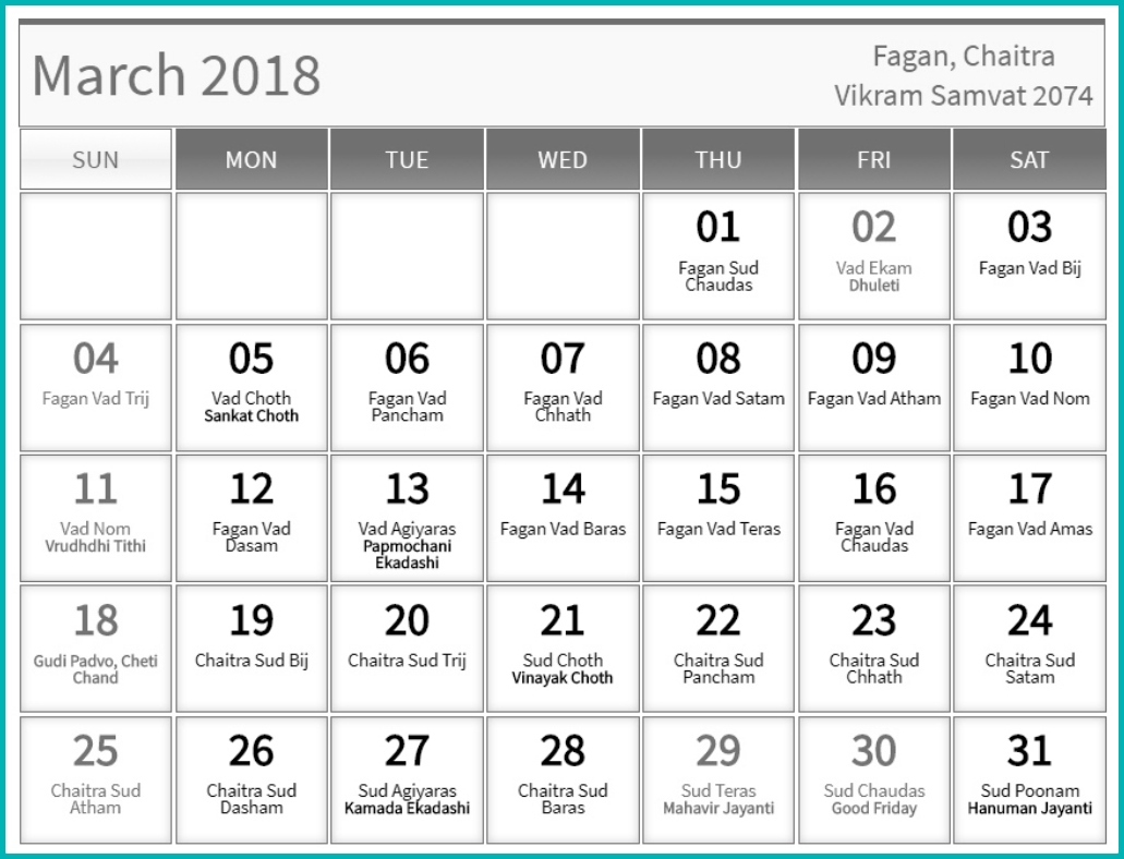 Hindu Calendar March 2018 Tyohar