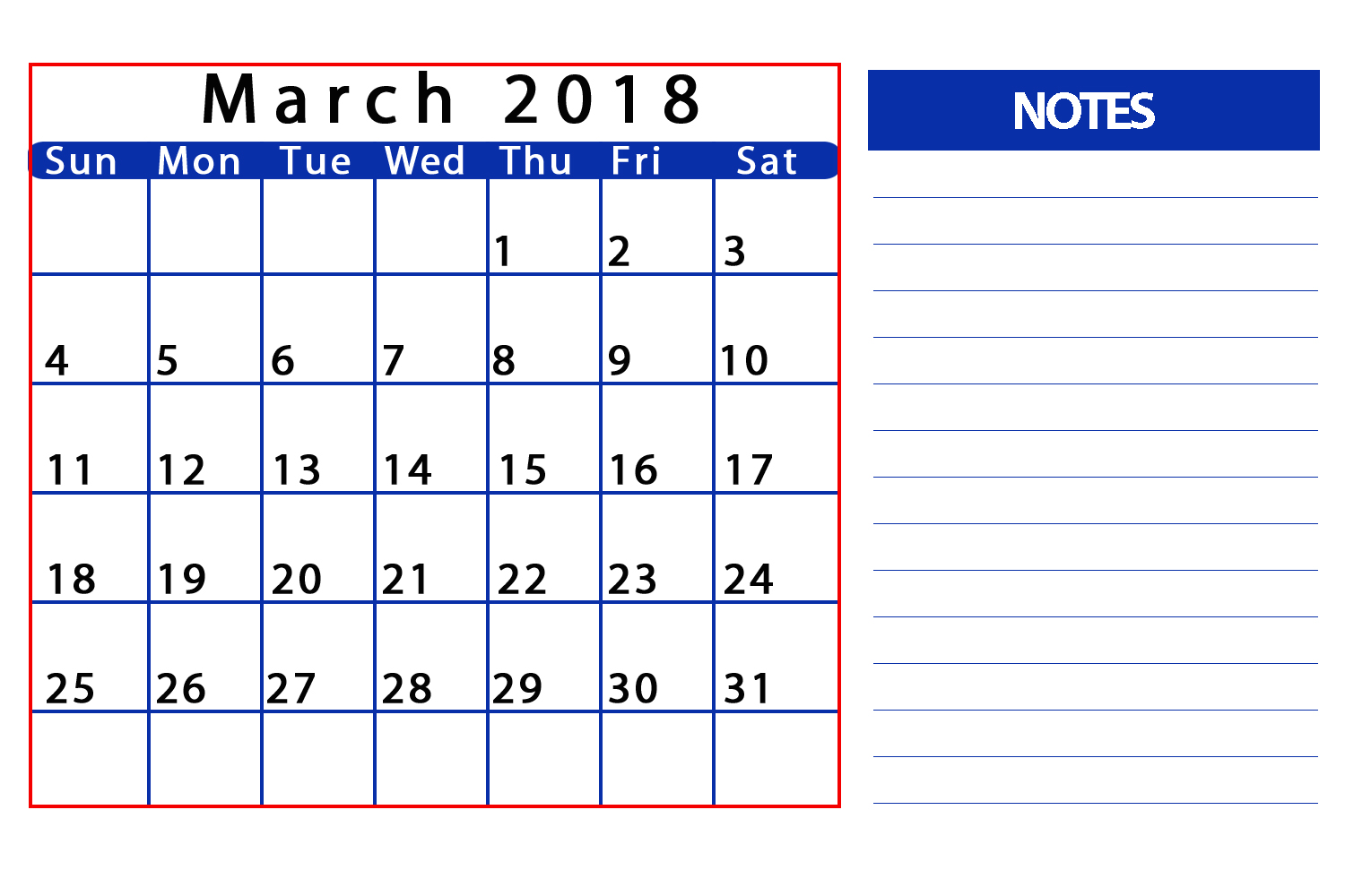 March 2018 Blank Calendar With Notes