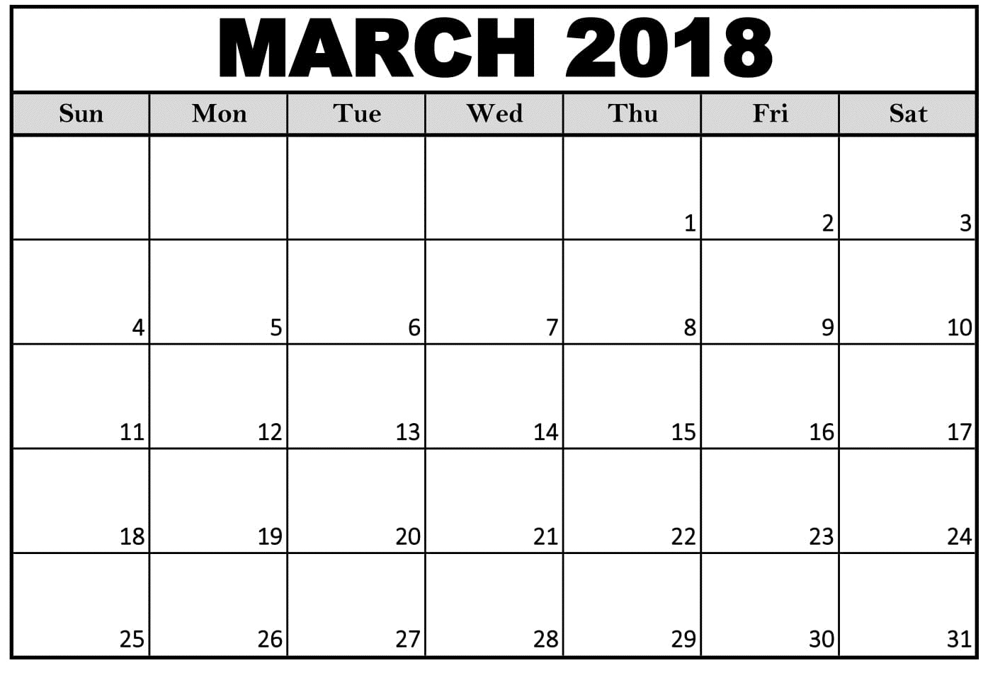 March 2018 Calendar Excel Template