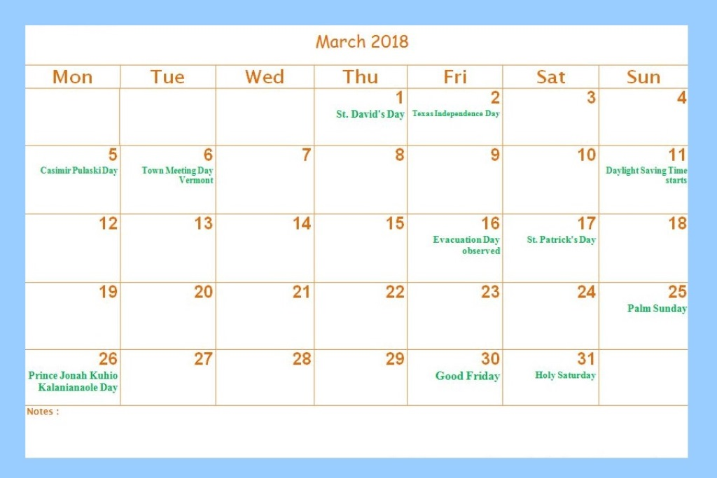 March 2018 Calendar Holidays