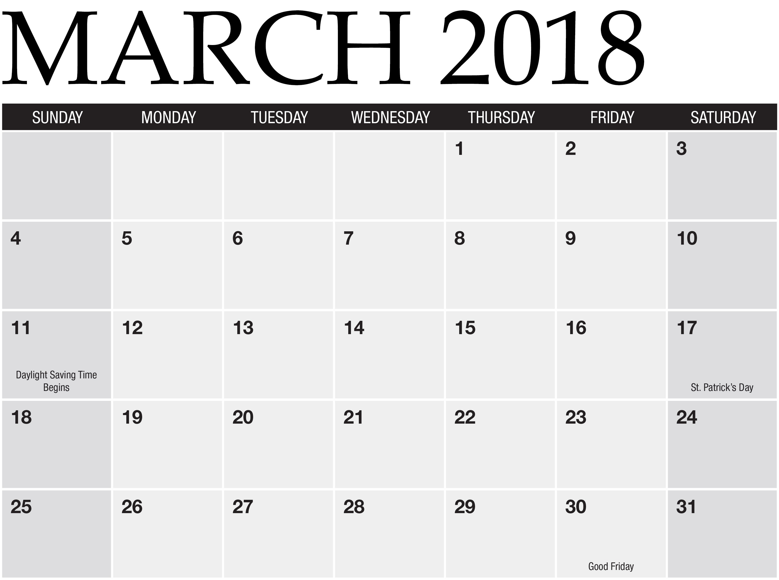 March 2018 Calendar Template Free Download