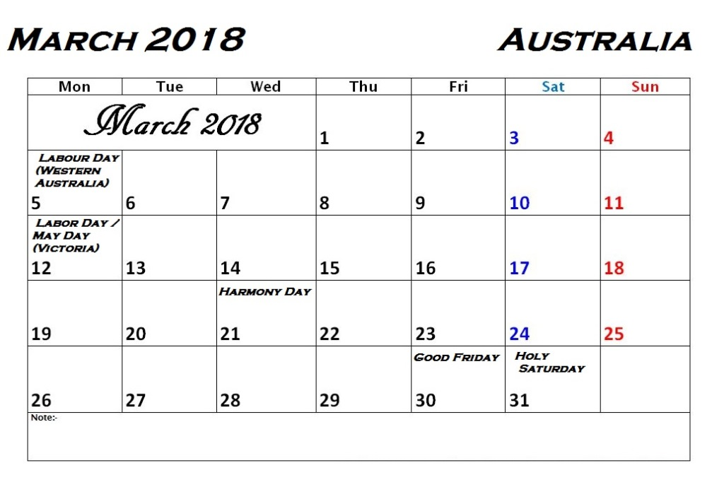 March 2018 Calendar With Holidays Australia