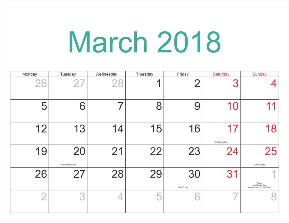 March 2018 Calendar With Holidays Dates