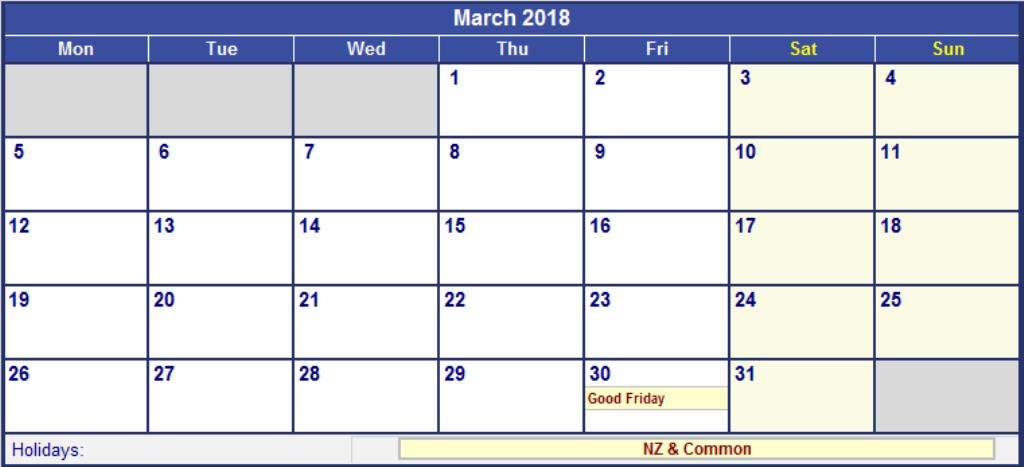March 2018 Calendar With Holidays NZ