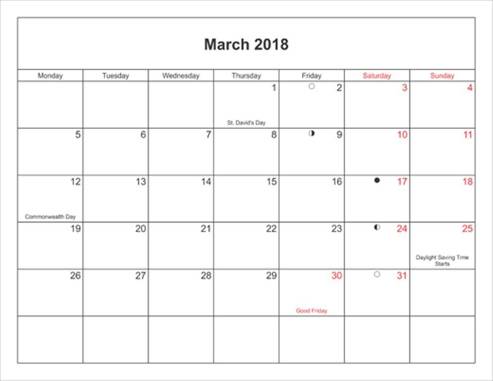 March 2018 Calendar With Holidays Printable