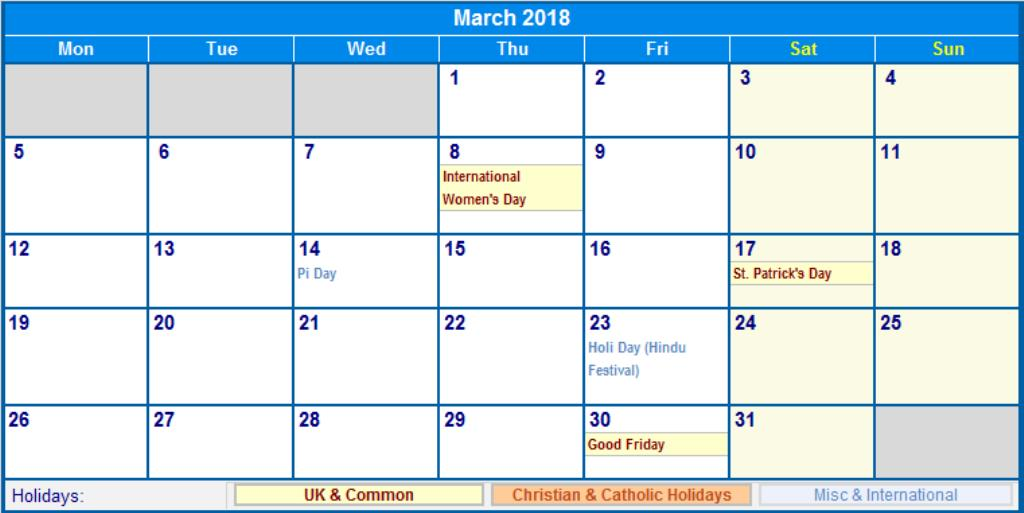 March 2018 Calendar With Holidays UK