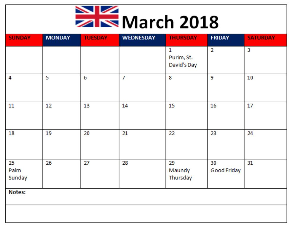 March 2018 Calendar With Holidays USA