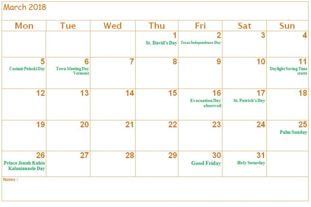 March 2018 Calendar With Holidays and Dates