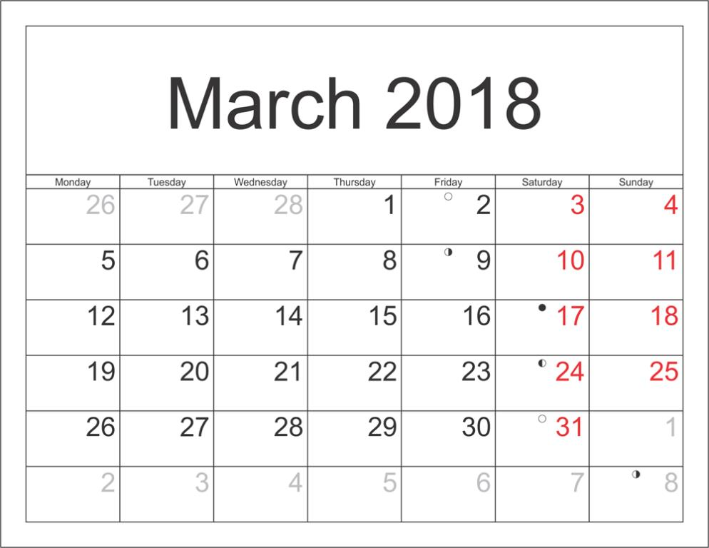 March 2018 Calendar With Holidays and Festivals
