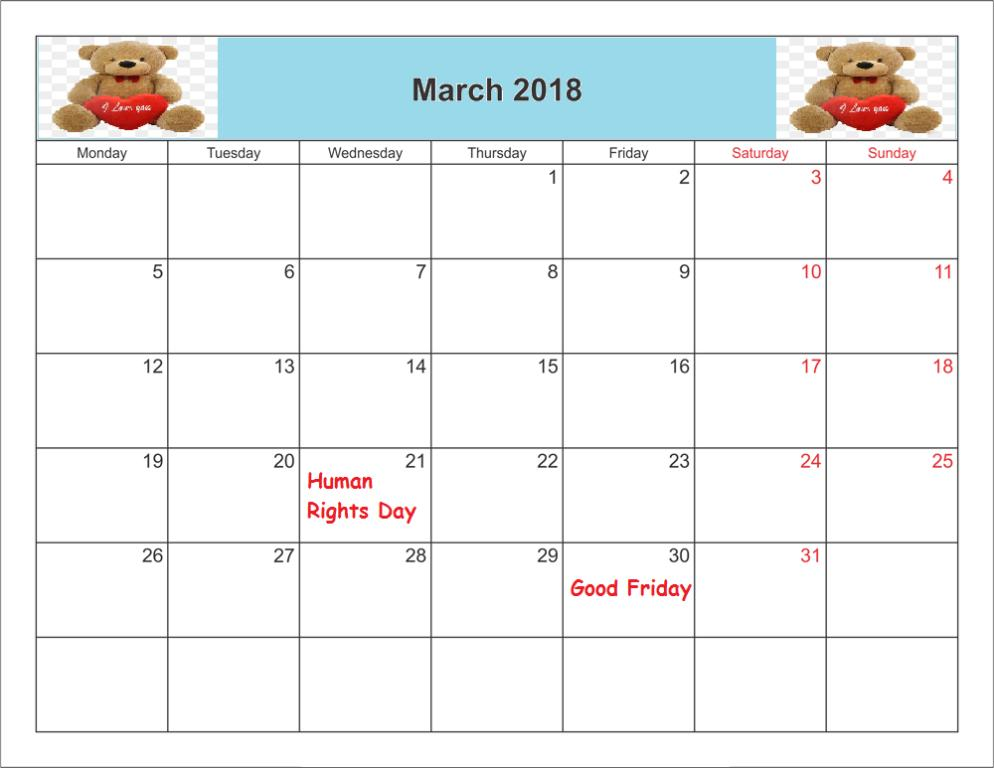March 2018 Calendar With Indian Holidays