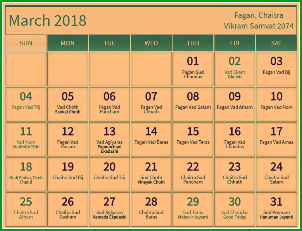 March 2018 Hindu Calendar With Tithi