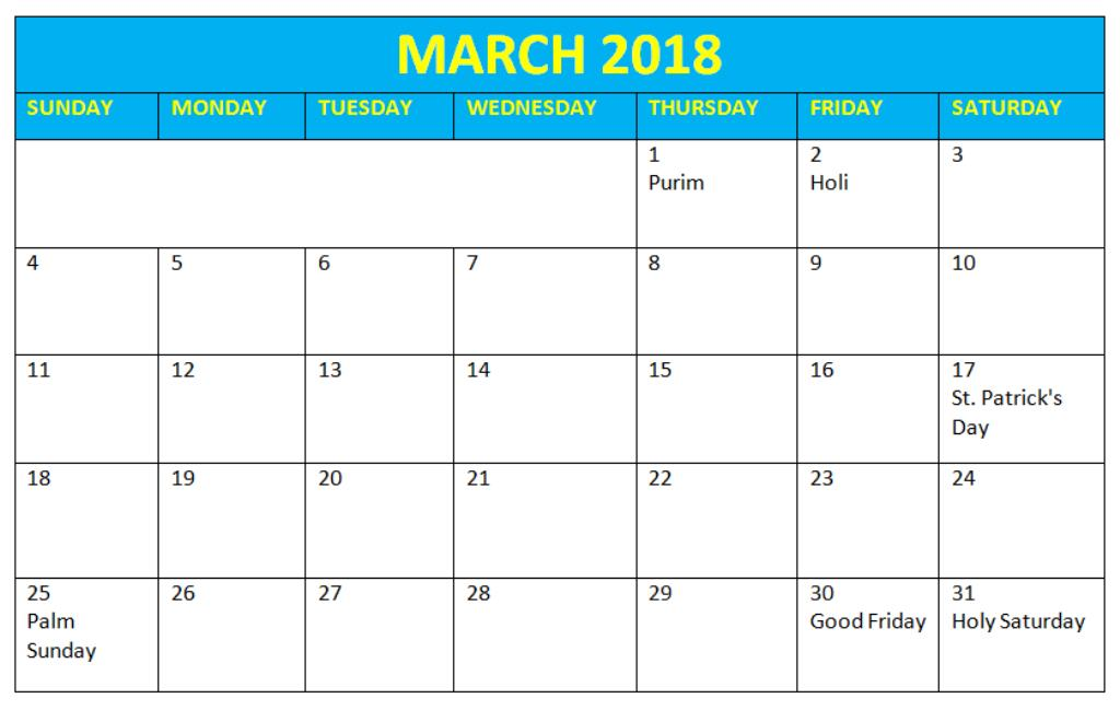 March 2018 Holidays Calendar