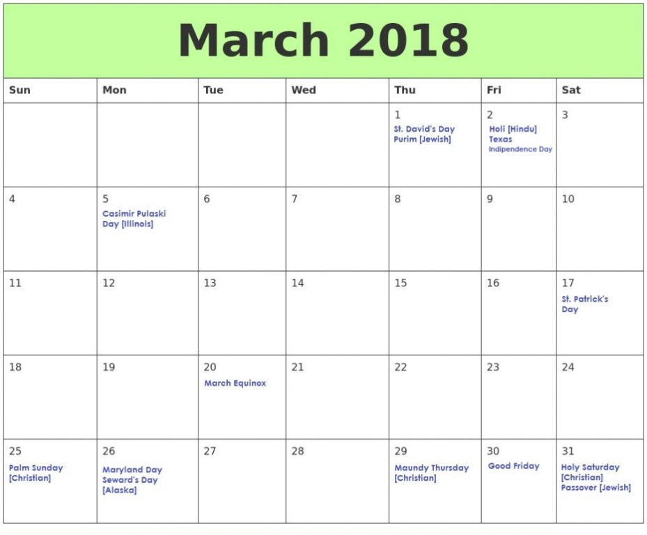 March 2018 Holidays