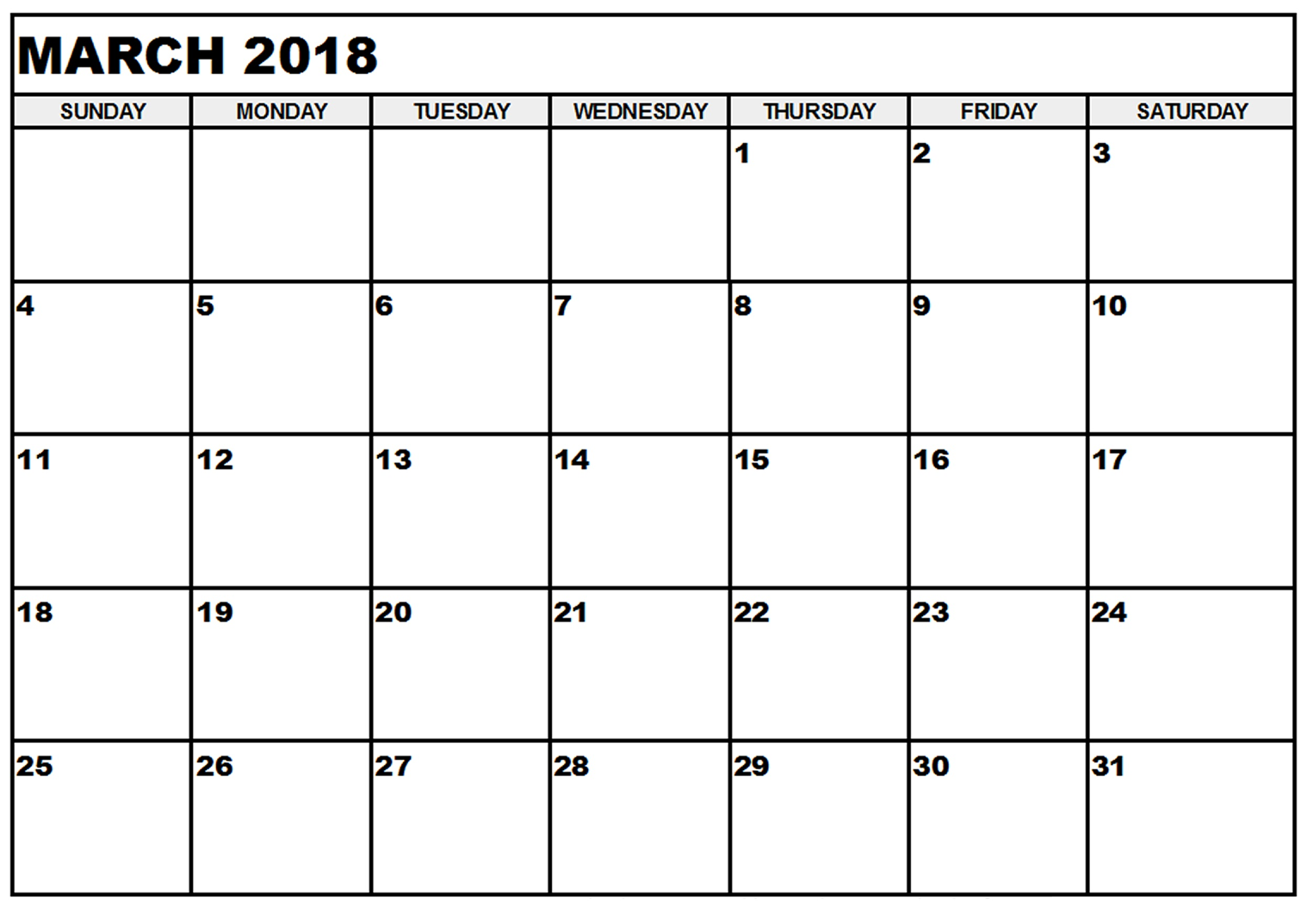 March 2018 Monthly Calendar Template