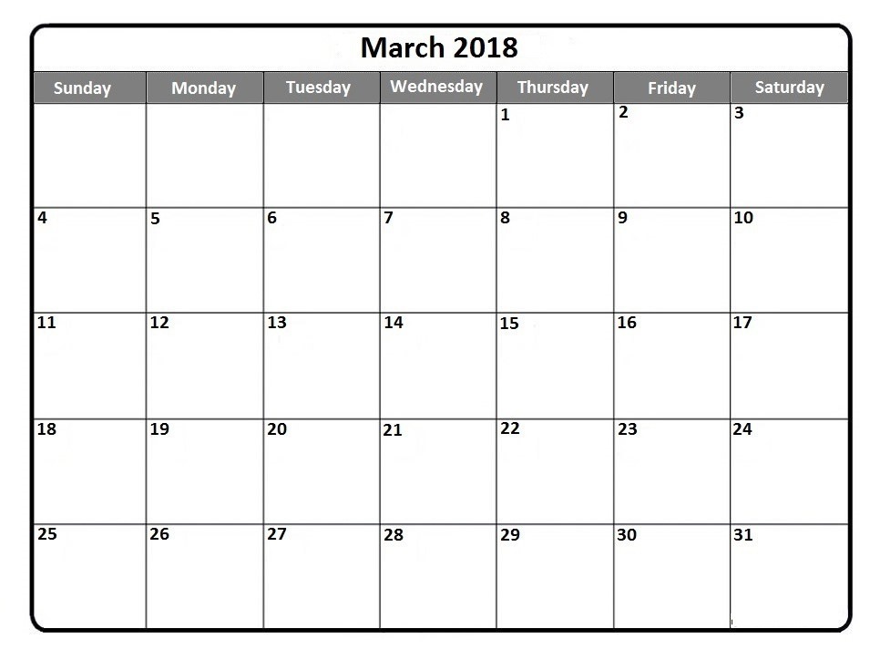 March 2018 Printable Calendar Template