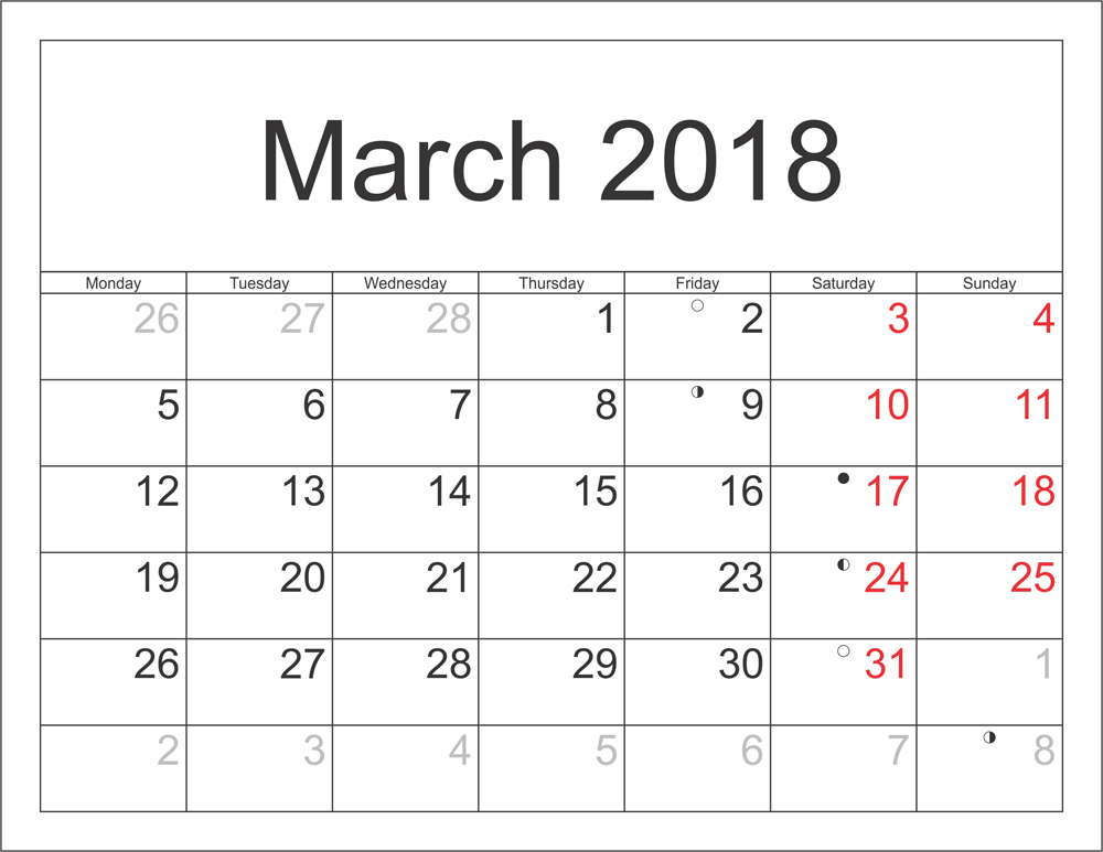 March 2018 Printable Calendar With Holidays