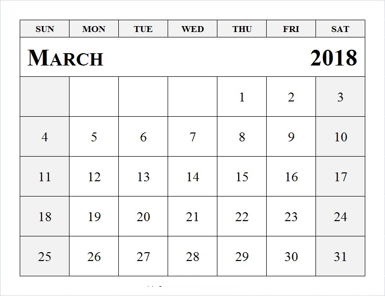 March 2018 Printable Calendar Word