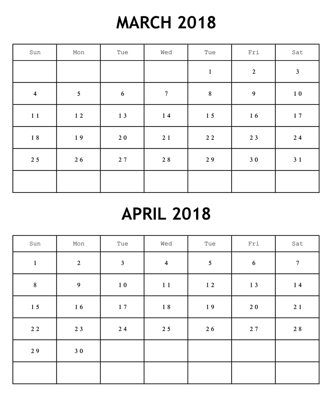March April 2018 Calendar Word