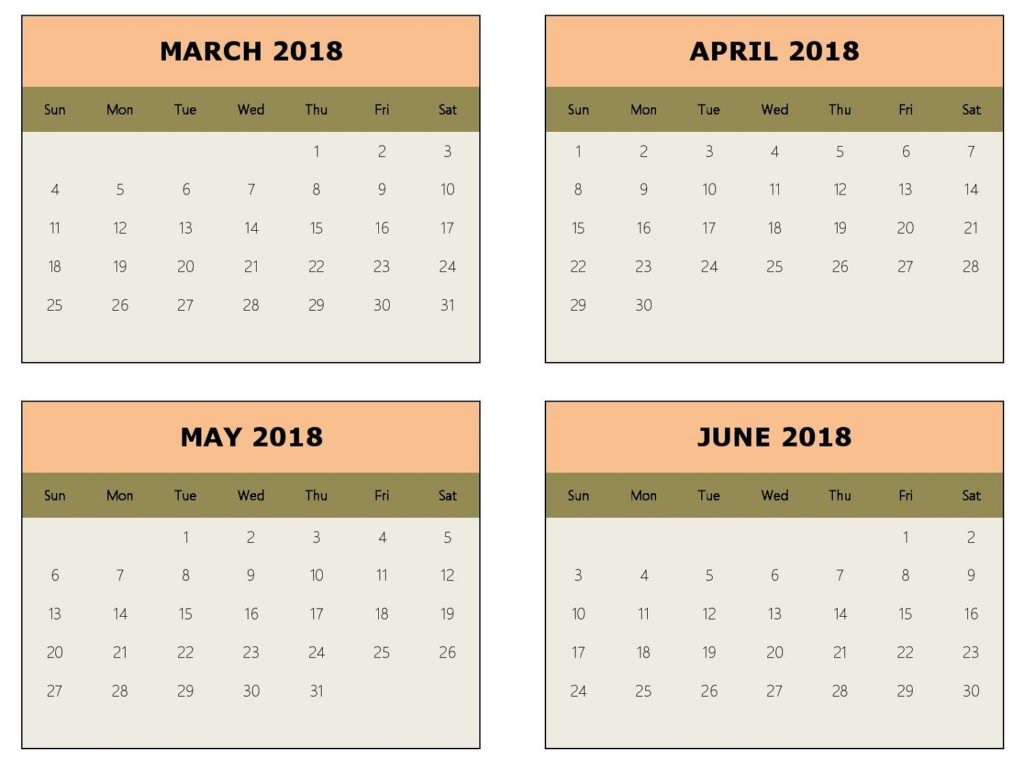 March April May June 2018 Calendar